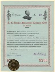 S. E. Benito Mussolini Citizens Club of Boston - Massachusetts 1941