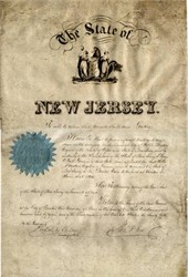 Seth Boyden Appointment as Commissioner to London World's Fair signed by Governor - New Jersey 1851