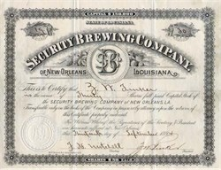 Security Brewing Company of New Orleans - Louisiana 1900