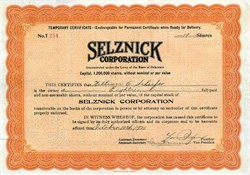 Selznick Corporation (Signed by movie pioneer Lewis J. Selznick)  - Delaware 1921