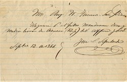 Jose L. Sepulveda signed document (Owned Palos Verdes) - San Pedro, California 1866