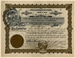 Searchlight Free Gold Mining and Milling Company - Searchlight District, Nevada - Organized in Territory of Arizona 1906