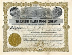 Searchlight Helena Mining Company - Nevada. Clark. Searchlight. Incorporated in Territory of Arizona 1908