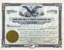 Selma Base Ball & Athletic Association, Inc 1927