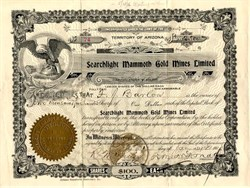 Searchlight Mammoth Gold Mines Limited - Territory of Arizona 1908