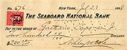Seaboard National Bank (signed by Gaetano Capone, Jr) - New York 1898