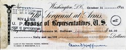 United States House of Representatives Sergeant of Arms Signed Check - 1955