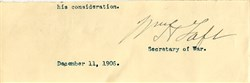 William Howard Taft Signature as Secretary of War Signature - 1906