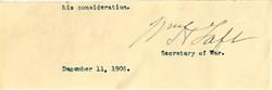 William Howard Taft Signature as Secretary of War Signature - 1906