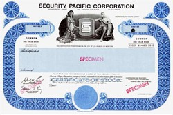 Security Pacific National Bank Corporation (SPNB) Specimen - Famous California Bank 1988