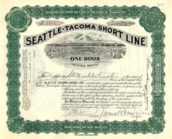 """Seattle -Tacoma Short Line - (Mount Rainier Vignette """"One Hour Scenic Route"""" ) Washington 1910"""