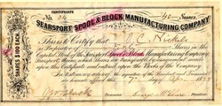 Searsport Spool & Block Manufacturing Company - Maine 1888