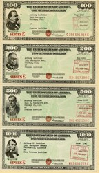 Set of four uncancelled Series E United States Savings Bonds ($100, $200, $500, $1000)