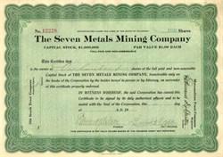 Seven Metals Mining Company - Colorado 1919
