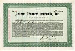Shubert Advanced Vaudeville, Inc. ( RARE) signed by Jacob Shubert and Lee Shubert - 1922