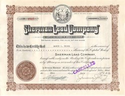 Sherman Lead Company signed by Jerome Day as President
