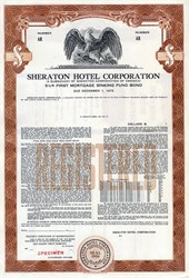 Sheraton Hotel Corporation First Mortgage Sinking Fund Bond - Delaware 1958