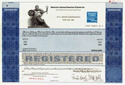 Shearson Loeb Rhoades, Inc. (Sanford I. Weill as Chairman) RARE Specimen -- Delaware 1980