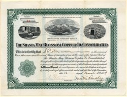 Shasta May Blossom Copper Co. Consolidated - Mt. Shasta, California - Incorporated in Arizona - 1905