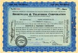 Shortwave & Television Corporation (Boston's 2nd TV Station W1WX)  - 1932
