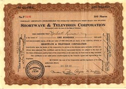 Shortwave & Television Corporation - Delaware 1931