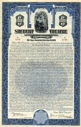 Shubert Theatre Corporation signed by Jacob J. Shubert - New York 1927