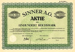 Sinner A.G. - Germany 1926