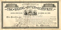 Signal Ditch Company - Denver, Colorado 1889