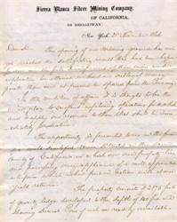 Sierra Blanca Silver Mining Company Letter 1866