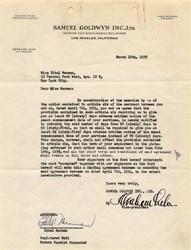 Ethel Merman handsigned letter from Samuel Goldwyn Inc. - California 1935