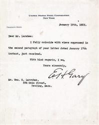 "Elbert Henry Gary Typed Letter Signed as Chairman of the Board of United States Steel Corporation ""E. H. Gary.""  ( Gary Indiana namesake) - 1923"