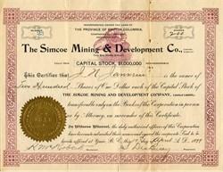 Simcoe Mining & Development Co.  (Ram Vignette) - British Columbia 1899