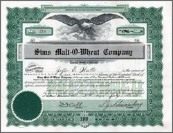 Sims Malt - O - Wheat Company 1919 - Minnesota