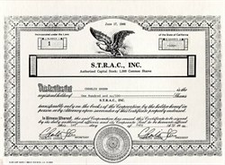 S.T.R.A.C., Inc. - Signed twice by Charlie Sheen (Winning) - California 1986