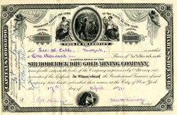 Sir Roderick Dhu Gold Mining Company signed by George W. Cable & McGinnis Bros. of old Wall Street Bank  - New York 1879