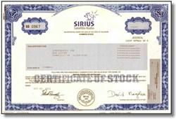 Sirius Satelite Radio Stock Certificate ( Pre Merger with XM) - Car Radio via Satellite - Scripophily