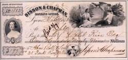 Sisson & Chapman Banking Office Check 1853 - Lyons, New York