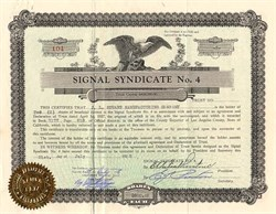 Signal Syndicate No. 4 - ( Signal Hill, California ) 1928