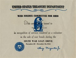 Sixth War Loan Drive War Finance Committee for Ohio - 1944