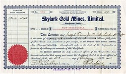 Skylark Gold Mines, Limited - British Columbia, Canada - 1901