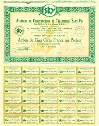 SKY French Cordless Telephone Construction Company 1931