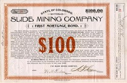 Slide Mining Company 1893 Ouray, Colorado - Signed by Maryland Governor