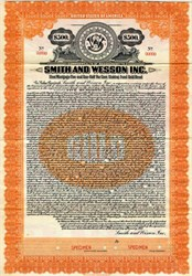Smith and Wesson, Inc. (manufacturer of firearms ) $500 Gold Bond -  Massachusetts 1923