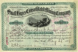Small Hopes Consolidated Mining Company signed by Arizona Governor, Richard McCormack - Leadville, Colorado 1897