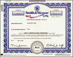 Smith & Wesson Firearms Company ( Special 150 Year Anniversary Stock Certificate )