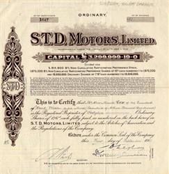 S.T.D. Motors, Limited - London, England 1933
