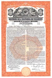 Southern Bell Telephone and Telegraph ( Early Bell South ) - 40 year 3 Percent Debenture $1,000 Bond certificate - 1939