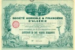 Societe Agricole & Finance D' Algerie (Algeria) 1928