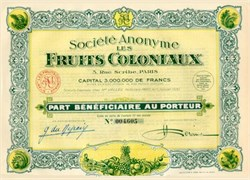 Societe Anonyme Les Fruits Coloniaux (Colonial Fruits ) 1930