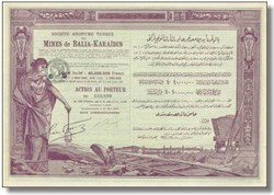 Societe Anonyme Ottomane des Mines de Balia - Karaidin Turkey 1923